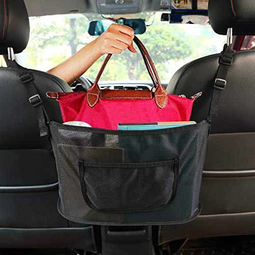 DAYFULI Car Net Pocket Handbag Holder, Car Purse Holder Between Seats, Mesh Car Backseat Organizer, Mesh Car Bag Holder, Car Storage Netting Pouch, Used to Store Purse Phone Document