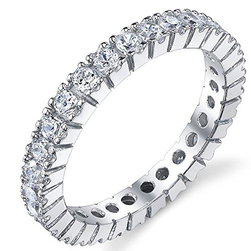 3MM Damen Sterling Silber 925 Ewigkeit Ring,Verlobungsring,Ehering Mit Zirkonia Bequemlichkeit Passen,Größe 54