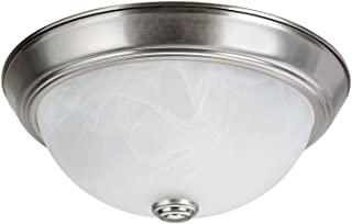 Aspen Creative 63013-1 Two-Light Flush Mount In Brushed Nickel with White Alabaster Glass Shade