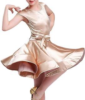 YROYKRRE Kind Mädchen Latin Ballroom Party Dance Professional Stretch Satin Stoff Performance Kleid, Latin Rumba Samba Dance Kleid Fish Bone Rock Color : Apricot, Size : 2XL