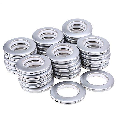 WCIC Anillos de Cortina con Ojales 32 Unidades Plastic Redondos presión Conjunto de Ojales Apto para Cortinas y Bricolaje 41mm diámetro Interno Plata