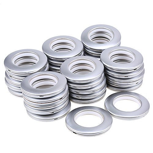 WCIC 32PCS Curtain Eyelet Rings, Curtain Grommets Round Plastic Rings Clips Inner Diameter 40mm DIY Rings for Window Curtain, Shower Curtain, Locker Room Door Curtains, Backpack Bag Hole Matte Silver
