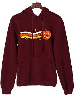 Women Sweatshirts Pullover Tops Makulas Halloween Cap Pumpkin Print Casual Long Sleeve Loose Blouse Drawstring Hoodies