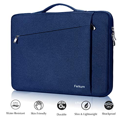 Ferkurn 14 15 15.6 inch Laptop Sleeve Bag Carrying with Handle Compatible MacBook 15, Surface Laptop, Tinkpad, HP Envy Chromebook Probook Pavilion, Inspiron, Asus,Waterproof Computer Laptop Case Blue