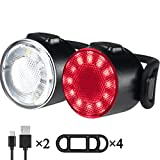 LED Bike Lights Set, USB Rechargeable 6 Brightness Modes Options Waterproof Bicycle Lights