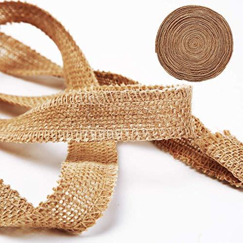 1 Inch Wide 54 Yards Burlap Ribbon, Natural Jute Fabric Ribbon Crafts Ribbon for Christmas Wedding Gifts Burlap Fabric DIY Ribbon for Decoration