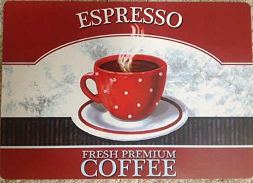 NEW SET 4 PLACEMATS COFFEE ESPRESSO 17 x 11 VINYL MAINSTAYS