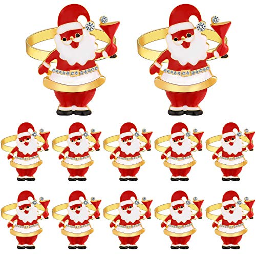 12 Pieces Christmas Napkin Rings Santa Claus Napkin Holder Rings for Christmas Holiday Party Dinner Wedding Banquet Dinning Table Settings Decoration