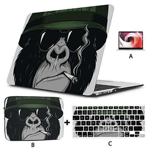 Mac Book Covers Cool Monkey Chimpanzee King Of Forest Animal Mac Case Hard Shell Mac Air 11'/13' Pro 13'/15'/16' With Notebook Sleeve Bag For Macbook 2008-2020 Version