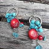 Boucles d'oreilles turquoise corail