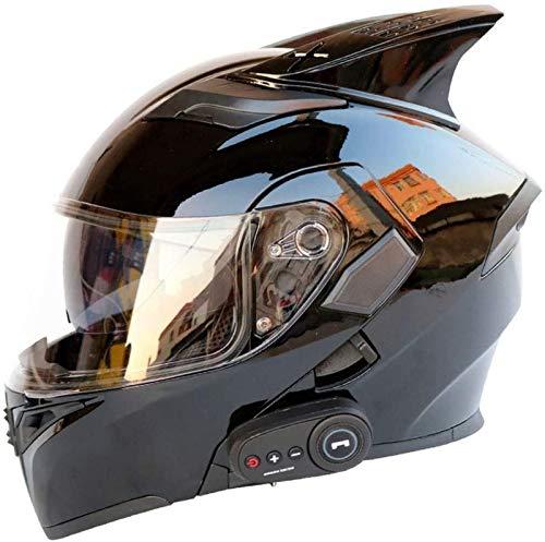 EBAYIN Cascos Moto Bluetooth, Cascos Integrales Modulares Abatibles de Doble Visor, Casco Aprobado por Dot ECE, Hombres Mujeres Casco Abatible Frontal Incorporado FM,B-L=(59~60cm)