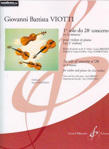 Billaudo Viotti G.B. - 1ER SOLO DU 28E CONCERTO EN LA MINEUR - VIOLON, PIANO klassieke tonen viool