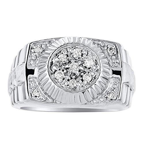 Para hombre anillo de diamante 14K amarillo o de oro blanco anillo banda Rolex estilo
