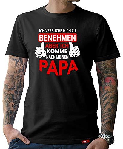 HARIZ Herren T-Shirt Papa Collection 36 Designs Wählbar Schwarz Vatertag Weihnachten Männer Geschenk Karte Urkunde Papa35 Ich Komme Nach Meinem Papa M
