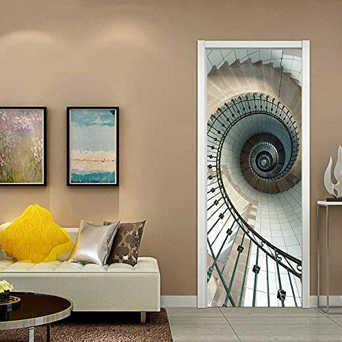wsnnys DIY Decoration Waterproof Door Stickers Spiral Staircase Self-Adhesive Door Decals Living Room Bedroom Door Wallpaper 77 * 200CM