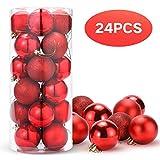 Unigoods 24 Piezas Bolas de Navidad 6 cm Bolas de árbol de Navidad Adorno para...