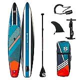 Stand up Paddle Gonfiabile Race 12'6 28'' 6'' (381 x 71 x 15 cm) con Pagaia, Leash, pompa e borsa per il trasporto