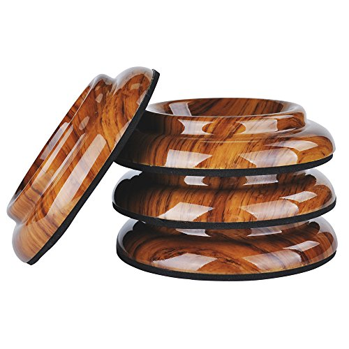 NUZAMAS Set mit 4 aufrechten Klavierrollen, ABS-Kunststoff-Füßen, Unterlage für Holzböden, Teppichschutz, rutschfest, Tiefbraun
