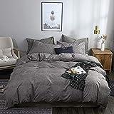 chenyu - Juego de ropa de cama (2 piezas, microfibra, funda nórdica de 135 x 200 cm, funda nórdica con cremallera y 1 funda de almohada de 80 x 80 cm), color gris