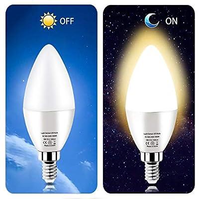 Dusk to Dawn Night Light Bulbs 6W E12 Light Sensor Bulb 60w Equivalent LED Bulb E12 LED Candelabra Bulb Base,Auto On and Off for Home,Outdoor,Yard Light (2 Pack)