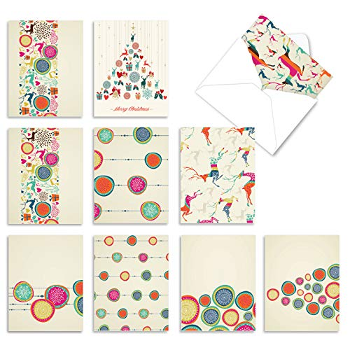 The Best Card Company - 10 Boxed Holiday Cards for Christmas - Fun Assorted Notecard Set, Bulk Variety Pack (4 x 5.12 Inch) - Happy Holidays M5017