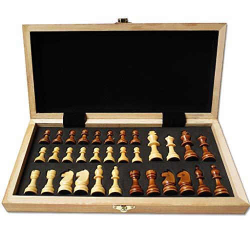Yayan Juego de ajedrez de madera de alto grado plegable tablero de ajedrez juego de ajedrez para niños adultos juegos educativos actividades familiares ajedrez (color: grande)