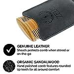 ZEUS Organic Sandalwood Double-Sided Beard Comb with Genuine Leather Sheath - R31 4