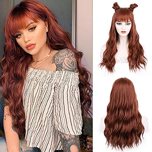 FORCUTEU Auburn Wig with Bangs Long Auburn Wigs for Women Synthetic Wavy Wigs Copper Red Color Wig for Daily Party Use(Auburn, 24inch)