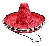 Mexikaner Sombrero mit Troddeln - 50 cm Durchmesser - Rot - Toller Mexiko Hut für Erwachsene zum...