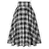 Falda de mujer de cintura alta estilo a cuadros