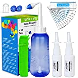 TONELIFE Nasal Rinse Kit+80 Nasal Salt+2 Nasal Pump Sprayer - 300ml Nose Wash-Nasal Irrigation System-Neti Pot with Buffered Salt Packets,Nose Cleaner with Saline Nasal Care Refills for Sinus Rinse