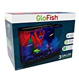 GloFish Crescent aquarium Kit 3 Gallons, Includes Hidden Blue LED Light And Internal Filter
