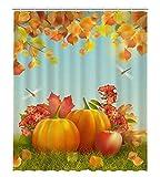 PKQWTM Duschvorhang aus Ahorn, Herbst-Erntedank mit Kürbissen, gefallenen Blättern, Libelle, Polyester, 152,4 x 182,9 cm