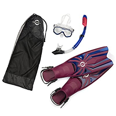 Snorkel Gear Set By Aquarena - Premium, Durable Materials In Maroon & Blue Colors-Included Are Dry Top Snorkel, Fins & Tempered Diving Mask-Adjustable & Easy To Use For Professionals ,Beginners Snorkeling,Spearfishing,Scuba,Divers
