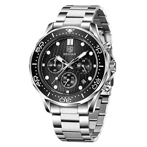 BENYAR - Stylish Wrist Watch for Men, Stainless Steel Strap Watches, Perfect Quartz Movement, Waterproof and Scratch Resistant, Analog Chronograph and Mechanical Business Watches, Best Mens Gift.