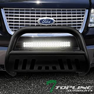 Topline Autopart Matte Black Bull Bar Brush Push Bumper Grill Grille Guard With Skid Plate + 120W CREE LED Fog Light For 04-19 Ford F150 / 03-17 Expedition / 03-14 Lincoln Navigator / 06-08 Mark LT