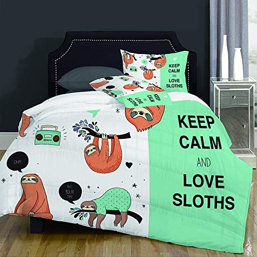 Duvet Cover Set-Bedding,Lazy Sleepy Bear Tribe Of Australian Sloths With 'Keep Calm' Quote Cartoon,Quilt Cover Bedlinen-Microfibre 200x200cm with 2 Pillowcase 50x80cm