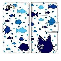 [Google Pixel4a5G] スマホケース 手帳型 グーグルピクセル4a 5g ファイブジー ケース 手帳 おしゃれ pixel4 5g カバー 人気 かわいい キャラクター ねこ 猫 さかな デザイン 柄 0150-B. キャットブルー スマートフォン 手帳型ケース ベルトなし スマホゴ