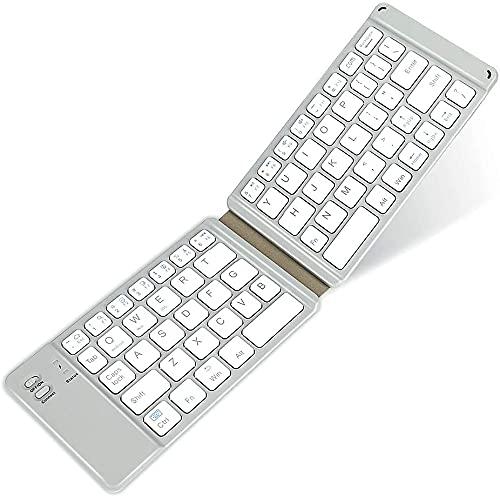 Teclado Bluetooth plegable, teclado Bluetooth recargable USB compacto Mini teclado portátil Bluetooth teclado inalámbrico para Windows/IOS/Android Systems PC Tablets Teléfonos (gris)
