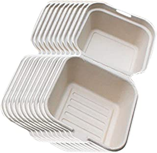 Perfk 6-inch, Hamburger Compostable Clamshell, Take-Out/to-Go Food Boxes - Biodegradable Containers, Hinged Lid - Microwav...