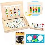 Harxin Juguetes Montessori Tablero Juego de Madera Puzzles Infantiles con Tarjetas de Patrón y Disco de Color Juguete De Rompecabezas Madera para Niños 3 4 5 Años (Madera Puzzle Juego)