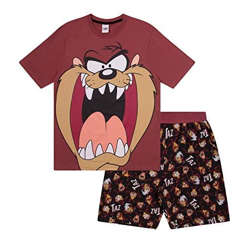 Looney Tunes - Herren Schlafanzug - kurz - mit Space Jam, Taz, Daffy Duck oder Elmer Fudd - Offizielles Merchandise - Braun - Taz - S