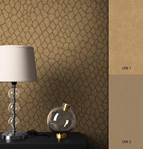 NEWROOM Tapete Gold Giraffe Fell Optik Stoff Optik Vliestapete Vlies moderne Design Optik Mustertapete inkl. Tapezier Ratgeber