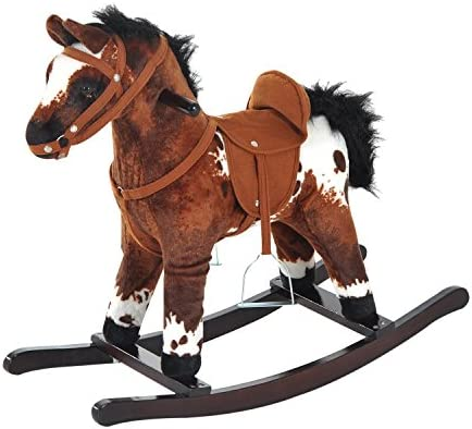 Qaba Kids Metal Plush Ride On Rocking Horse Chair Toy with Realistic Sounds Dark Brown White product image