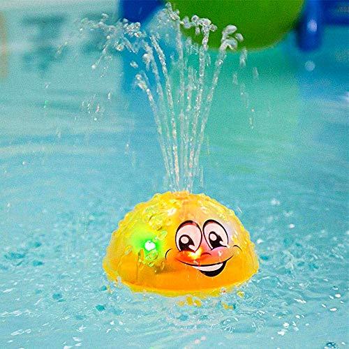 Schwimmende Badespielzeug Mit Licht, Kraeoke Kinderbad Wasserball Badespielzeug Mit Licht Für Badewanne Dusche-Pool Badezimmer Kleinkinder Party (Gelb)