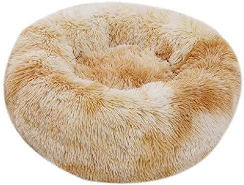 Enetos Bett Rundes Hundebetten Haustierbett katzenbett waschbar Sehr weich und bequem Ovales Doughnut Nesting Cave-Bett,geeignet für Katzen und kleine,mittelgroße Hunde(40cm Durchmesser)