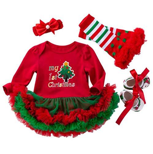 LvRao Bambine Neonata Costume Mio Primo Natale Stampa Pagliaccetto Tutine Body Tutu con Scarpe Leggings Fascia - Albero di Natale #2, 59 (0-3M)