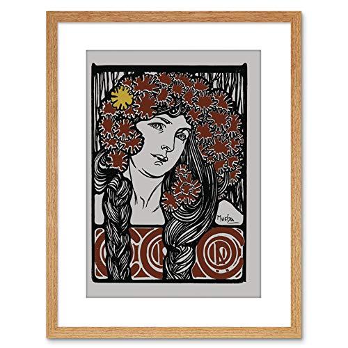 Painting Nouveau Illustration Mucha Girl Flowers Hair Framed Art F97X12135