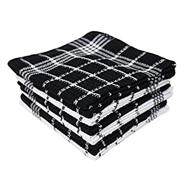Cotton Waffle Checkered Terry Dish Cloths, 13x13  Set of 12, Absorbent Durable Drying Cleaning Kitchen Cloths-Black/White