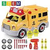 GILOBABY Montage Spielzeug Autos, Kinder DIY Gebäude Spielzeug,Engineering Rescue Vehicles hat Licht und Ton und Drill-Sound, STEAM Spielzeug Geschenke Gut...